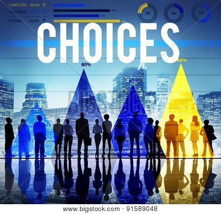 Choices Selection Opportunity Pick Risk Concept