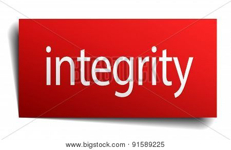 Integrity Red Square Isolated Paper Sign On White