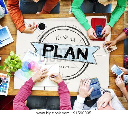 Plan Planning Strategy Brainstorming Goals Concept