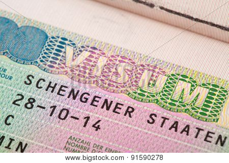 European Union Schengen Zone Visa In Passport - Close Up Shot