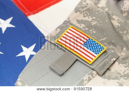 Usa Army Uniform With Chevron Over Flag - Focus On Chevron