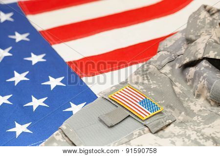 Usa Army Uniform With Chevron Over Flag