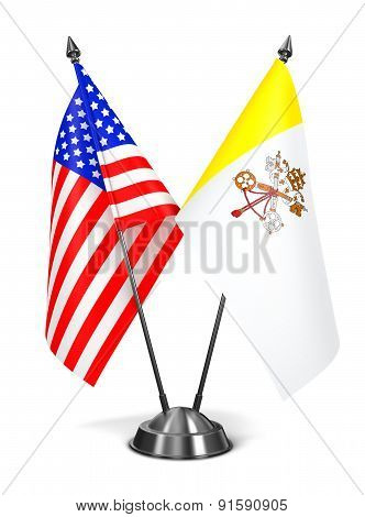 USA and Vatican City - Miniature Flags.