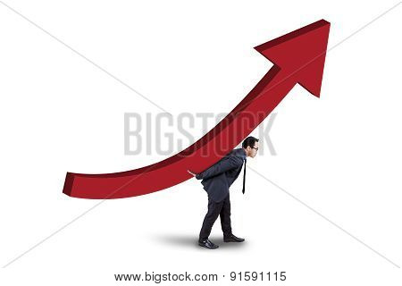 Young Manager With Business Growth Chart