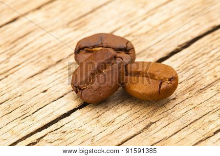 Coffee Beans On Table - Close Up Shot