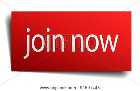 Join Now Red Square Isolated Paper Sign On White