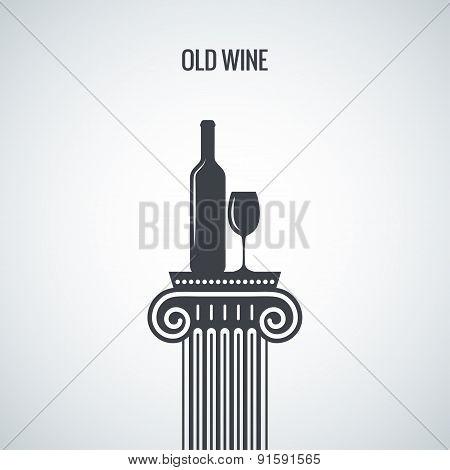 wine bottle glass classic design background