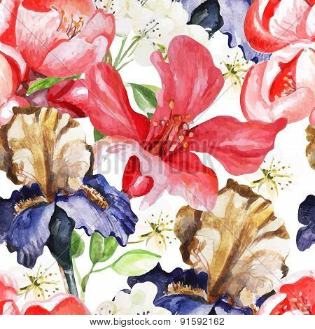 Seamless pattern with watercolor flowers. Iris.  Blooming pomegranate.