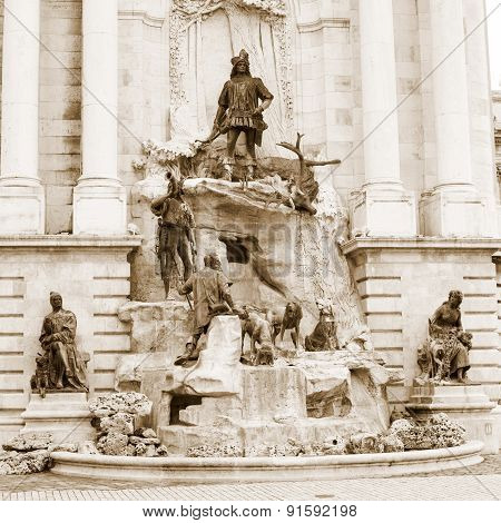 Matthias Fountain in the  Royal Palace, Budapest, Hungary.