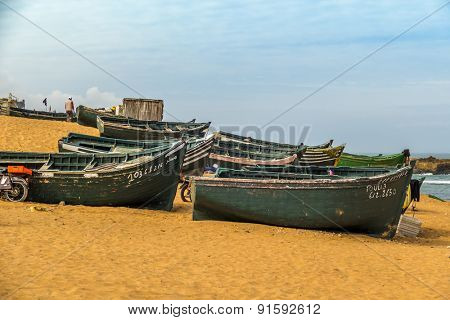 OUALIDIA, MOROCCO, APRIL 6, 2015: Fishermen prepare their boats to go fishing