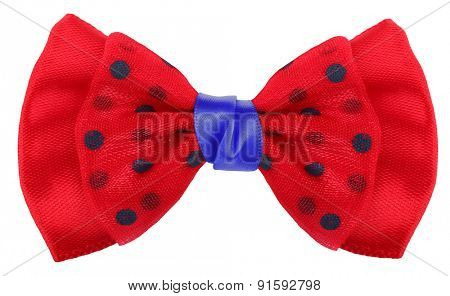 Hair bow tie red with blue dots
