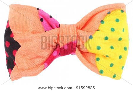 Hair bow tie apricot orange with colorful multicolor details