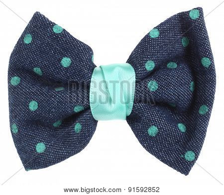 Hair bow tie blue with turquoise dots