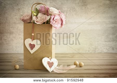 Rises, Hearts and two Feathers - Vintage Romantic still life horizontal background, vintage toned