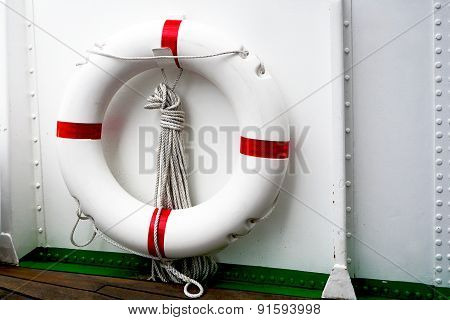White Red Lifebuoy And White Ship