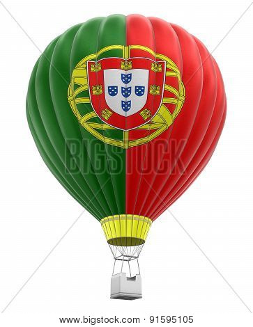 Hot Air Balloon with Portuguese Flag (clipping path included)