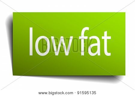 Low Fat Green Paper Sign On White Background