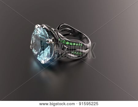 Golden Ring with Diamond. Jewelry background. aquamarine
