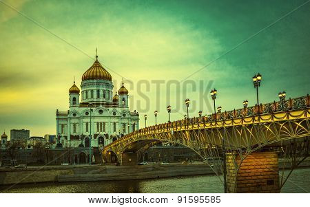 Retro Style Image Of The Cathedral Of Christ The Saviour In Moscow, Russia