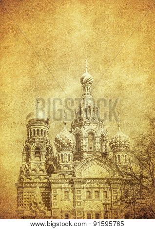 Vintage Image Of Church Of The Savior On Blood, Saint Petersburg, Russia