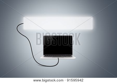 Laptop With Blank Button
