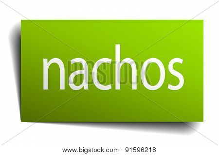 Nachos Square Paper Sign Isolated On White