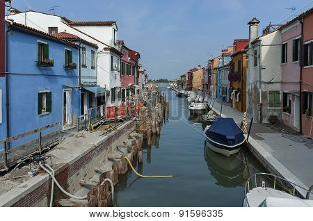 Water street repair in Burano island, near Venice, Italy, Europe