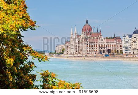 Building Of Parliament Of Hungary On The River Bank Danube, In The Foreground A Tree Branch With Lea
