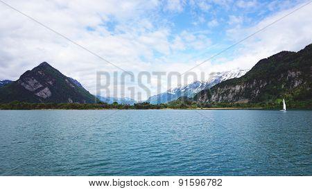Scenery Of Thun Lake And Sail Boat