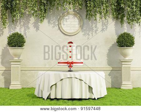 Wedding Cake In A Garden