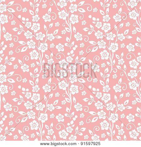 Vector flower seamless pattern background.