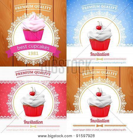 Vector cupcake banner