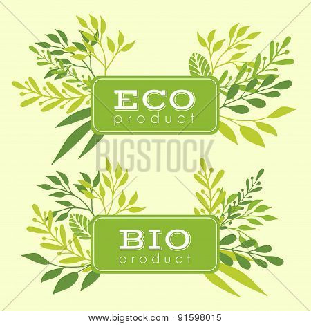 Set of eco and bio floral stickers, banners