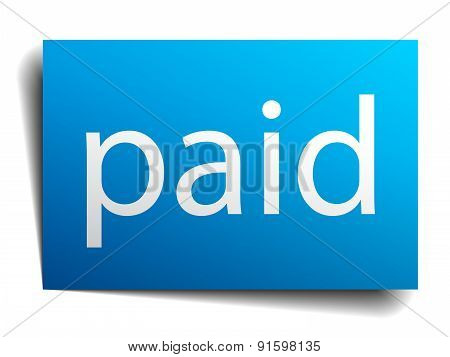 Paid Blue Paper Sign On White Background