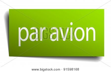 Par Avion Square Paper Sign Isolated On White