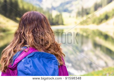 Hiker Woman Outdoors Watching Landscape