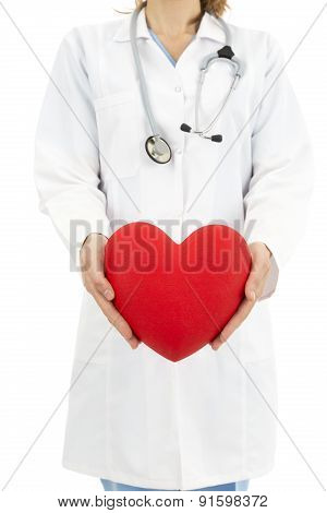 Doctor Holding Heart In Her Hands, Symbol For Help And Insurance