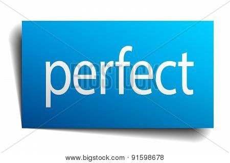 Perfect Blue Paper Sign On White Background