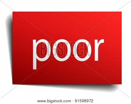 Poor Red Square Isolated Paper Sign On White