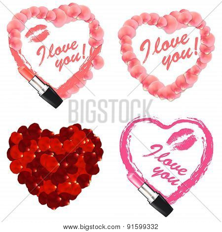 Vector painted heart with petals set