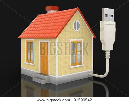 House and USB Cable (clipping path included)