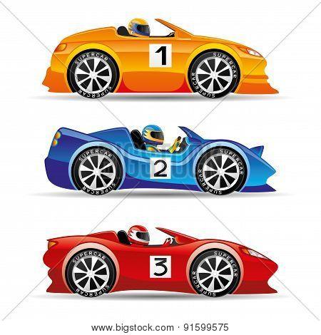 Racing cars.