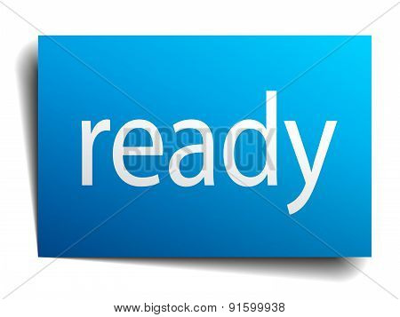 Ready Blue Paper Sign On White Background