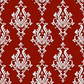 image of damask  - Vector Damask Seamless Background with 3d Floral Pattern over Red Backdrop - JPG
