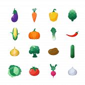 stock photo of radish  - Vector Icons Vegetables Flat Style Set Isolated over White with Eggplant - JPG