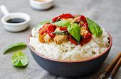 picture of stir fry  - Basil pepper chicken stir fry with rice - JPG