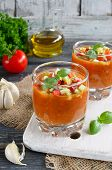 pic of vegetable soup  - Fresh vegetable soup Gazpacho on the table - JPG
