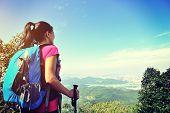 pic of wilder  - woman hiker looking into the wilderness on mountain peak - JPG