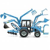 stock photo of truck farm  - Blue multifunctional tractor isolated on white background - JPG