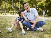 image of conversation  - asian father and elementary - JPG